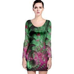 Pink And Green Shapes Make A Pretty Fractal Image Long Sleeve Velvet Bodycon Dress