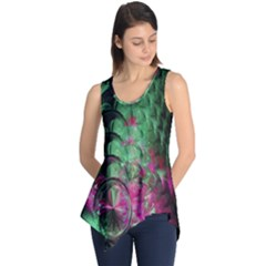 Pink And Green Shapes Make A Pretty Fractal Image Sleeveless Tunic