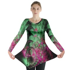 Pink And Green Shapes Make A Pretty Fractal Image Long Sleeve Tunic