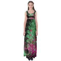 Pink And Green Shapes Make A Pretty Fractal Image Empire Waist Maxi Dress