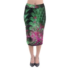 Pink And Green Shapes Make A Pretty Fractal Image Midi Pencil Skirt