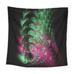 Pink And Green Shapes Make A Pretty Fractal Image Square Tapestry (large)