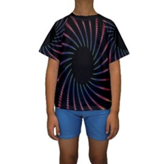 Fractal Black Hole Computer Digital Graphic Kids  Short Sleeve Swimwear