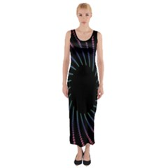Fractal Black Hole Computer Digital Graphic Fitted Maxi Dress