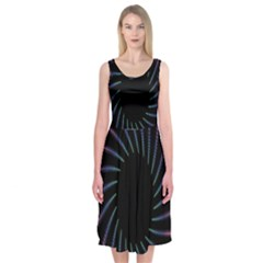 Fractal Black Hole Computer Digital Graphic Midi Sleeveless Dress