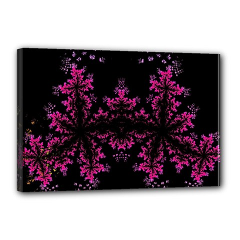 Violet Fractal On Black Background In 3d Glass Frame Canvas 18  X 12