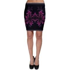 Violet Fractal On Black Background In 3d Glass Frame Bodycon Skirt