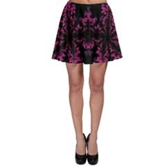 Violet Fractal On Black Background In 3d Glass Frame Skater Skirt