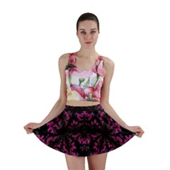 Violet Fractal On Black Background In 3d Glass Frame Mini Skirt