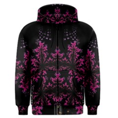 Violet Fractal On Black Background In 3d Glass Frame Men s Zipper Hoodie