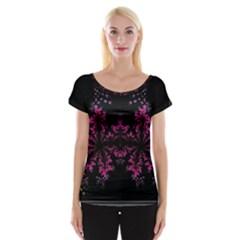 Violet Fractal On Black Background In 3d Glass Frame Women s Cap Sleeve Top