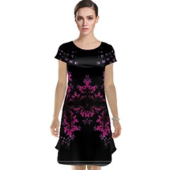 Violet Fractal On Black Background In 3d Glass Frame Cap Sleeve Nightdress