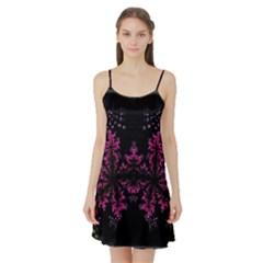 Violet Fractal On Black Background In 3d Glass Frame Satin Night Slip