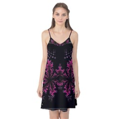 Violet Fractal On Black Background In 3d Glass Frame Camis Nightgown