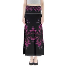 Violet Fractal On Black Background In 3d Glass Frame Maxi Skirts