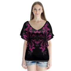Violet Fractal On Black Background In 3d Glass Frame Flutter Sleeve Top