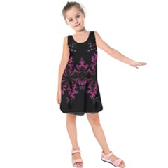 Violet Fractal On Black Background In 3d Glass Frame Kids  Sleeveless Dress