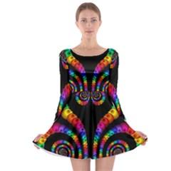 Fractal Drawing Of Phoenix Spirals Long Sleeve Skater Dress