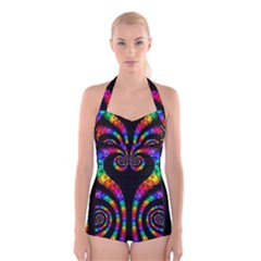 Fractal Drawing Of Phoenix Spirals Boyleg Halter Swimsuit