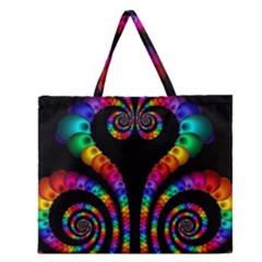 Fractal Drawing Of Phoenix Spirals Zipper Large Tote Bag