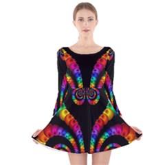 Fractal Drawing Of Phoenix Spirals Long Sleeve Velvet Skater Dress