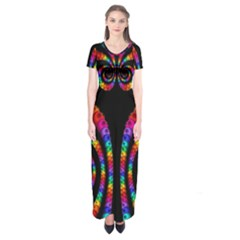 Fractal Drawing Of Phoenix Spirals Short Sleeve Maxi Dress