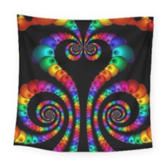 Fractal Drawing Of Phoenix Spirals Square Tapestry (large)