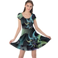 Fractal Image With Sharp Wheels Cap Sleeve Dresses