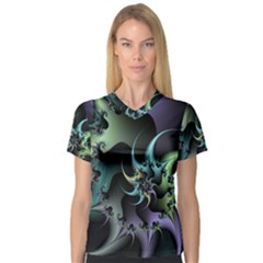Fractal Image With Sharp Wheels Women s V-Neck Sport Mesh Tee