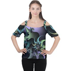 Fractal Image With Sharp Wheels Women s Cutout Shoulder Tee