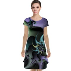 Fractal Image With Sharp Wheels Cap Sleeve Nightdress