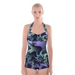 Fractal Image With Sharp Wheels Boyleg Halter Swimsuit