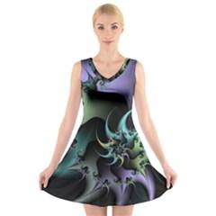 Fractal Image With Sharp Wheels V Neck Sleeveless Skater Dress
