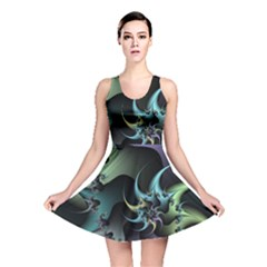 Fractal Image With Sharp Wheels Reversible Skater Dress