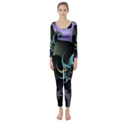 Fractal Image With Sharp Wheels Long Sleeve Catsuit
