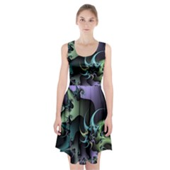 Fractal Image With Sharp Wheels Racerback Midi Dress
