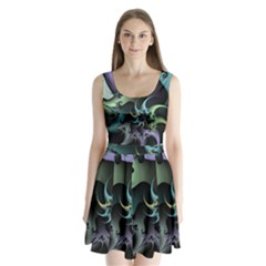 Fractal Image With Sharp Wheels Split Back Mini Dress