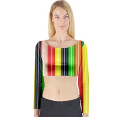 Stripes Colorful Striped Background Wallpaper Pattern Long Sleeve Crop Top