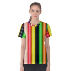 Stripes Colorful Striped Background Wallpaper Pattern Women s Cotton Tee