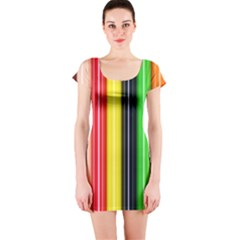 Stripes Colorful Striped Background Wallpaper Pattern Short Sleeve Bodycon Dress