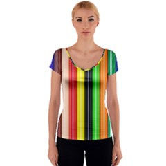 Stripes Colorful Striped Background Wallpaper Pattern Women s V-Neck Cap Sleeve Top