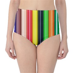 Stripes Colorful Striped Background Wallpaper Pattern High-Waist Bikini Bottoms