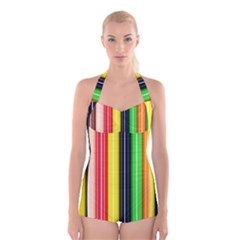 Stripes Colorful Striped Background Wallpaper Pattern Boyleg Halter Swimsuit