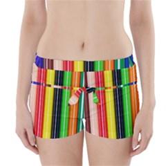 Stripes Colorful Striped Background Wallpaper Pattern Boyleg Bikini Wrap Bottoms