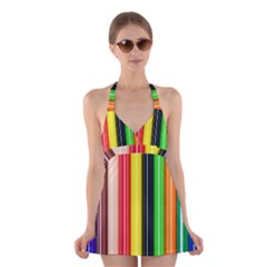 Stripes Colorful Striped Background Wallpaper Pattern Halter Swimsuit Dress