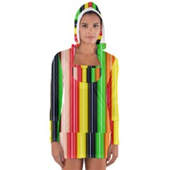 Stripes Colorful Striped Background Wallpaper Pattern Women s Long Sleeve Hooded T Shirt