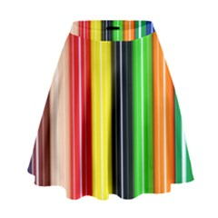 Stripes Colorful Striped Background Wallpaper Pattern High Waist Skirt