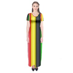 Stripes Colorful Striped Background Wallpaper Pattern Short Sleeve Maxi Dress
