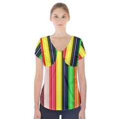Stripes Colorful Striped Background Wallpaper Pattern Short Sleeve Front Detail Top