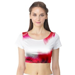 Abstract Pink Page Border Short Sleeve Crop Top (Tight Fit)